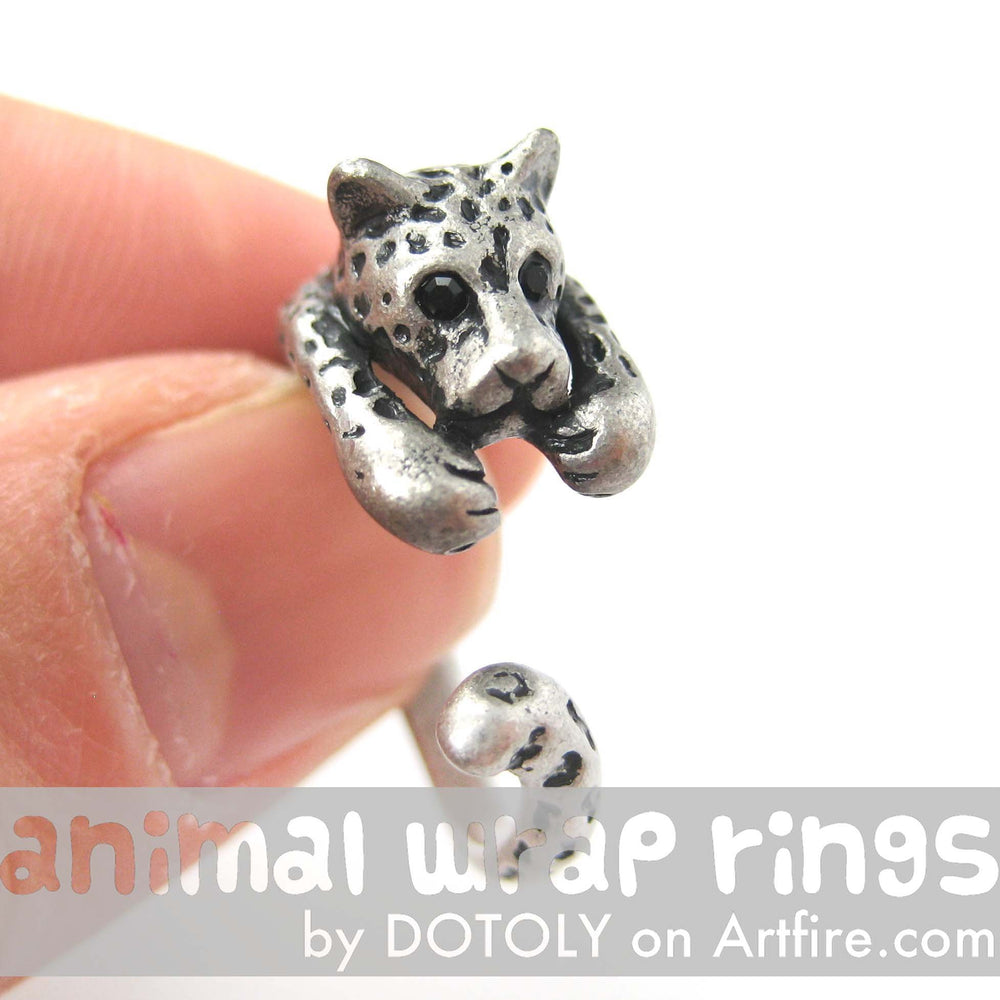 Leopard Jaguar Animal Wrap Around Ring in Silver - Sizes 4 to 9 Available | DOTOLY
