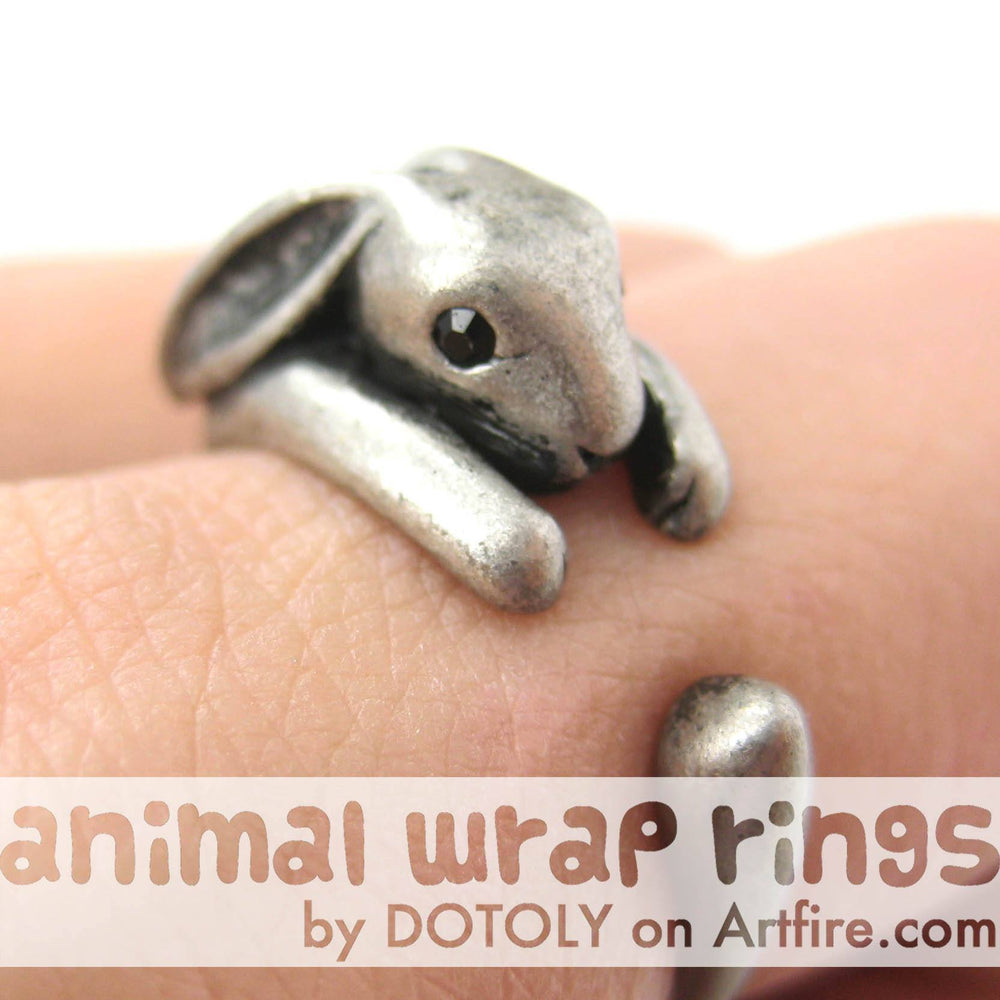 Bunny Rabbit Animal Wrap Around Ring in Silver - Sizes 4 to 9 Available | DOTOLY