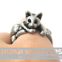 Relaxing Kitty Cat Animal Wrap Around Ring in Silver - Sizes 4 to 9 Available | DOTOLY