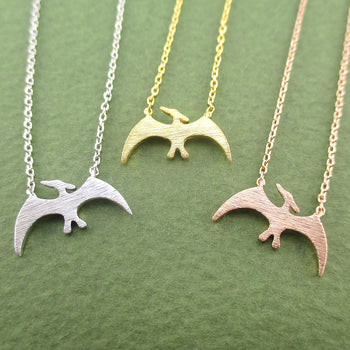 Pterodactyl Dinosaur Silhouette Prehistoric Animal Themed Charm Necklace