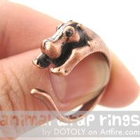 Hippo hippopotamus Animal Wrap Ring in Copper - Sizes 4 to 9 Available | DOTOLY