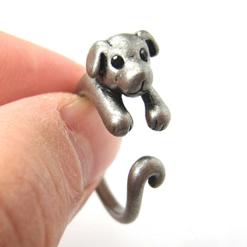 Puppy Dog Animal Wrap Around Ring in Silver - Sizes 4 to 9 Available | DOTOLY