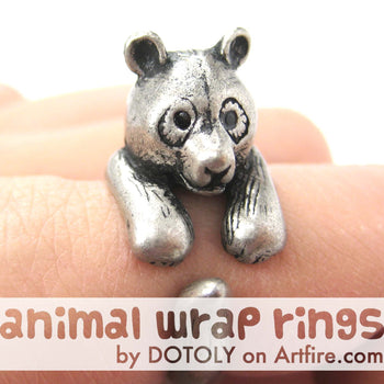 Large Panda Bear Animal Wrap Around Hug Ring in Silver - Size 4 to 9 Available | DOTOLY