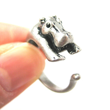 Hippo hippopotamus Animal Wrap Ring in Silver - Sizes 4 to 9 Available | DOTOLY
