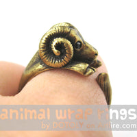 Sheep Ram Animal Wrap Around Ring in Brass - Sizes 4 to 9 Available | DOTOLY