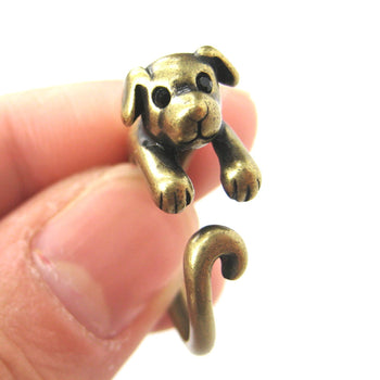 Puppy Dog Animal Wrap Around Ring in Brass - Sizes 4 to 9 Available | DOTOLY