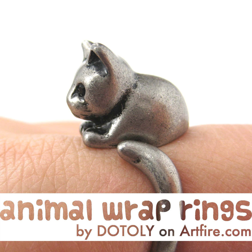 Kitty Cat Animal Wrap Around Ring in Silver - Sizes 4 to 9 Available | DOTOLY