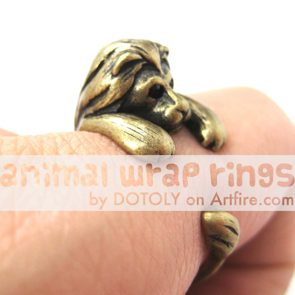 Realistic Lion Animal Wrap Around Ring in Brass - Sizes 4 to 9 Available | DOTOLY