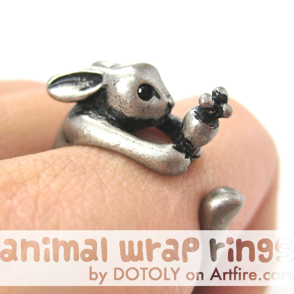 Bunny Rabbit Animal Wrap Ring with Carrot in Silver - Sizes 4 to 9 Available | DOTOLY