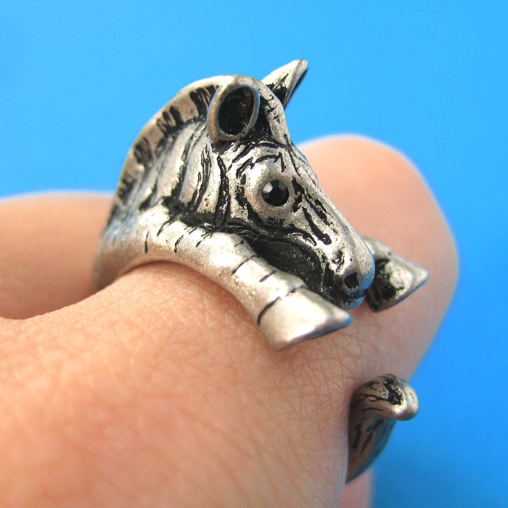 Zebra Horse Animal Wrap Around Ring in Silver - Sizes 4 to 9 Available | DOTOLY