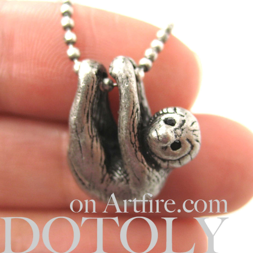 Sloth Baby Animal Pendant Necklace Realistic and Cute in Silver | DOTOLY