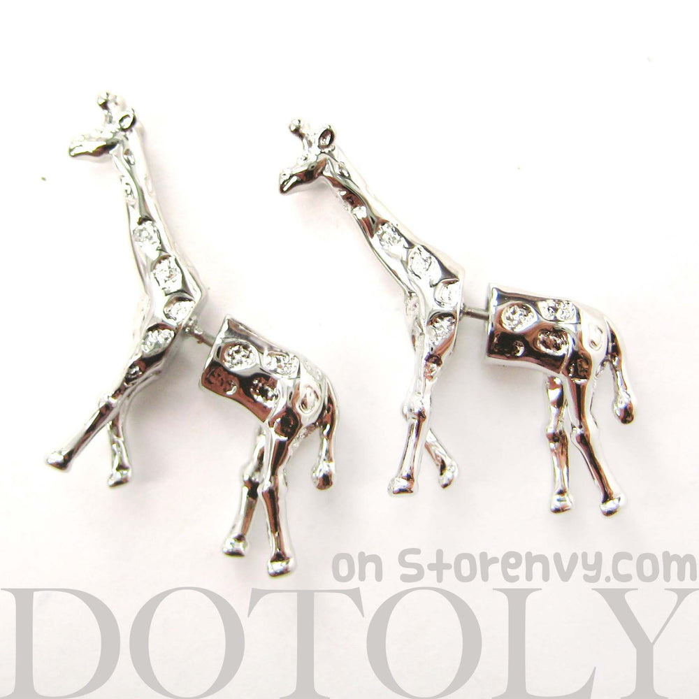 Fake Gauge Earrings: Realistic Giraffe Shaped Animal Faux Plug Stud Earrings in Shiny Silver | DOTOLY
