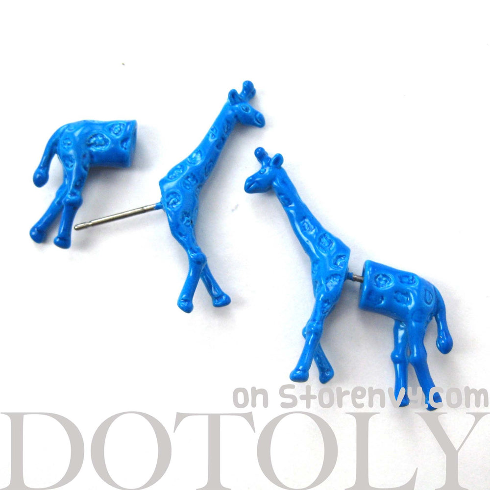 Unique Fake Gauge Earrings: Realistic Giraffe Shaped Animal Faux Plug Stud Earrings in Blue | DOTOLY
