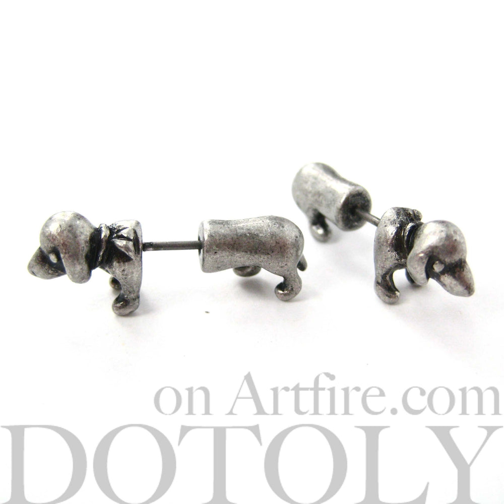 Fake Gauge Earrings: Realistic Dachshund Puppy Dog Animal Stud Earrings in Silver | DOTOLY