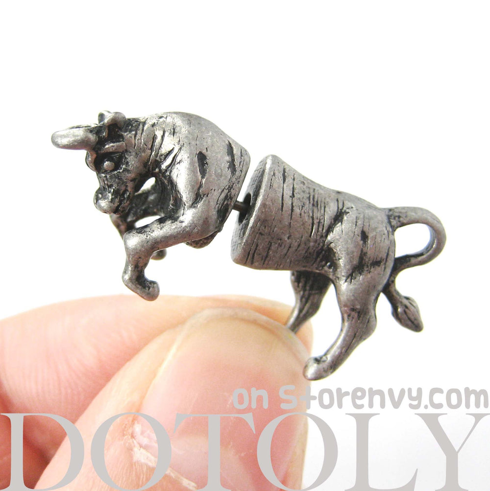 Fake Gauge Earrings: Realistic Cow Bull Shaped Animal Plug Earrings in Silver | DOTOLY