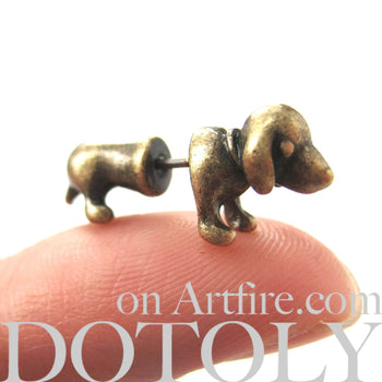 Fake Gauge Earrings: Realistic Dachshunds Puppy Dog Animal Stud Earrings in Brass | DOTOLY