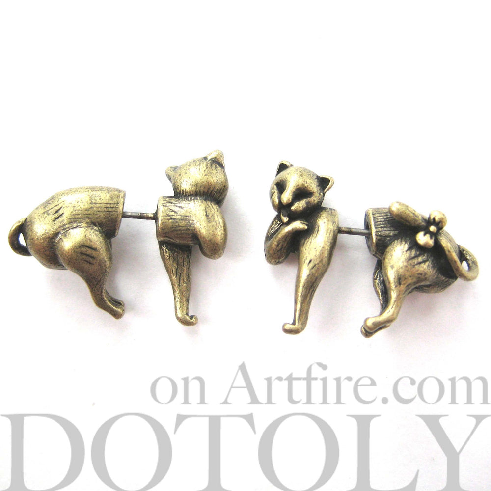 kitty-cat-animal-fake-gauge-earrings-brass-cute