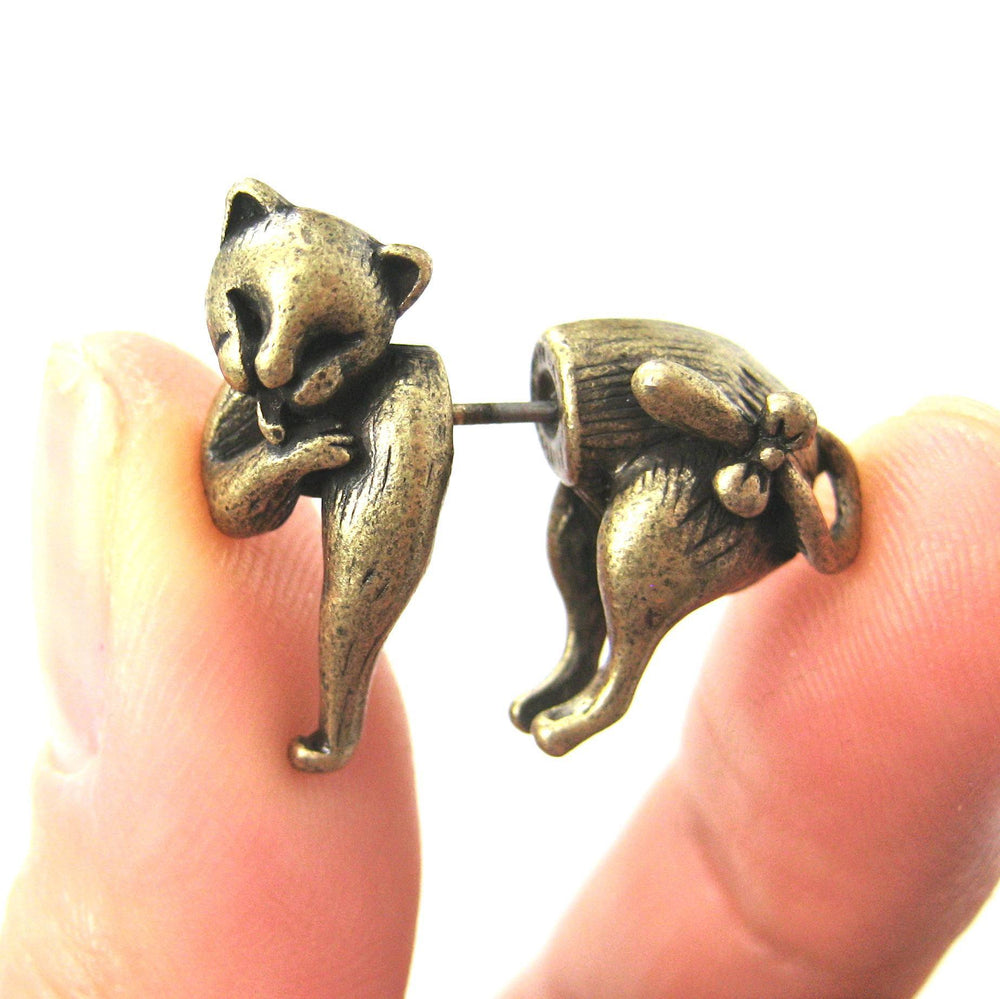kitty-cat-animal-fake-gauge-earrings-brass