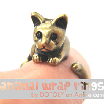 Kitty Cat Animal Wrap Around Ring in Brass - Sizes 4 to 9 Available | DOTOLY