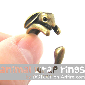 Bunny Rabbit Animal Wrap Around Ring in Brass - Sizes 4 to 9 Available | DOTOLY