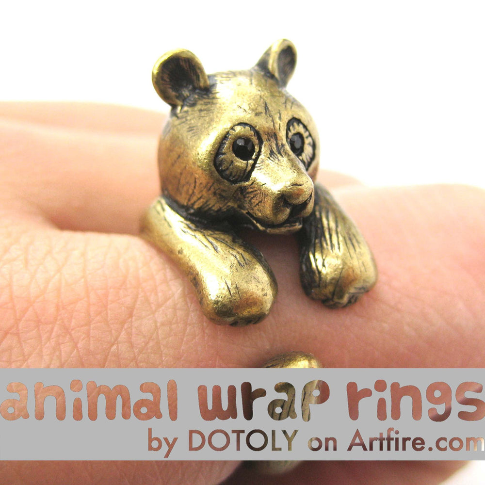 Large Panda Bear Animal Wrap Around Hug Ring in Brass - Size 4 to 9 Available | DOTOLY