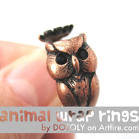 Owl Bird Animal Wrap Around Ring in Copper - Sizes 4 to 8.5 Available | DOTOLY
