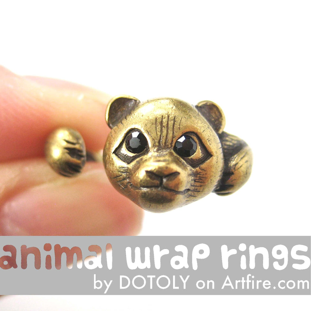 Small Panda Bear Animal Wrap Hug Ring in Brass - Size 4 to 8.5 Available | DOTOLY