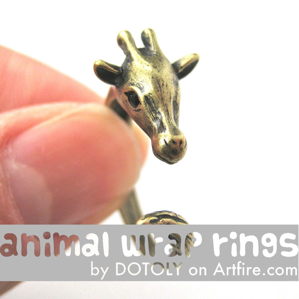 Mother Giraffe Animal Wrap Around Ring in Brass - Sizes 4 to 9 Available | DOTOLY