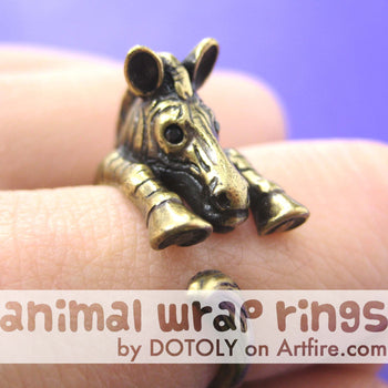 Zebra Horse Animal Wrap Around Ring in Brass - Sizes 4 to 9 Available | DOTOLY