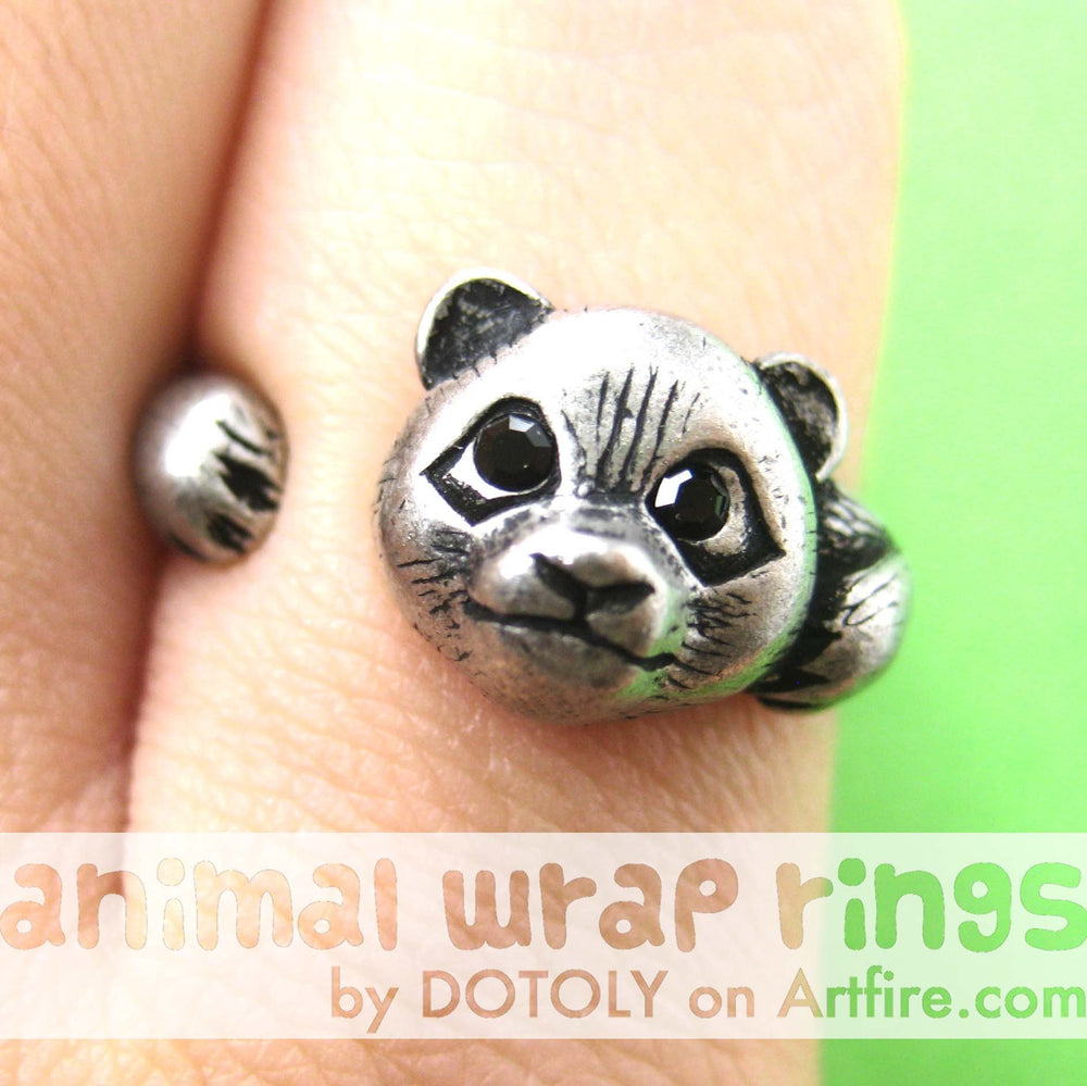 Small Panda Bear Animal Wrap Hug Ring in Silver - Size 4 to 8.5 Available | DOTOLY