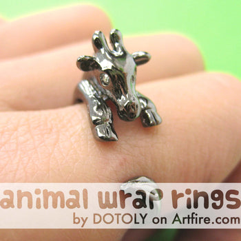 Baby Giraffe Animal Wrap Around Ring in Gunmetal Silver - Sizes 4 to 9 | DOTOLY
