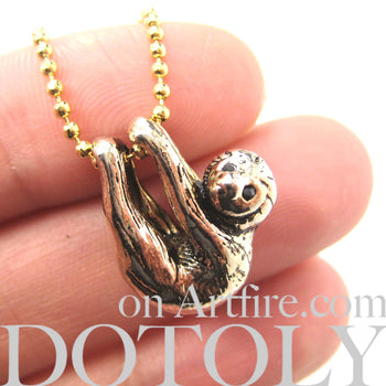 Sloth Baby Animal Pendant Necklace Realistic and Cute in Shiny Gold | DOTOLY