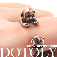 Monkey Animal Wrap Ring with Banana in Copper - Sizes 4 to 9 Available | DOTOLY