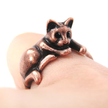 Relaxing Kitty Cat Animal Wrap Around Ring in Copper - Sizes 4 to 9 Available | DOTOLY