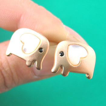 Baby Elephant Shaped Animal Stud Earring in Copper with Heart Shaped Ears | DOTOLY