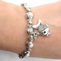 Fish Parade Sea Animal Stretchy Bracelet in Silver | Animal Jewelry | DOTOLY