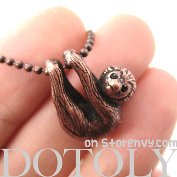 Sloth Baby Animal Pendant Necklace Realistic and Cute in Copper | DOTOLY