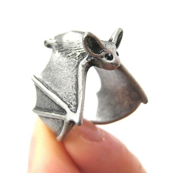 3D Bat Animal Wrap Adjustable Ring in Silver | Animal Jewelry | DOTOLY