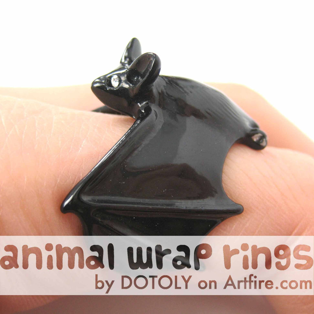 3D Bat Animal Wrap Adjustable Ring in Black | Animal Jewelry | DOTOLY