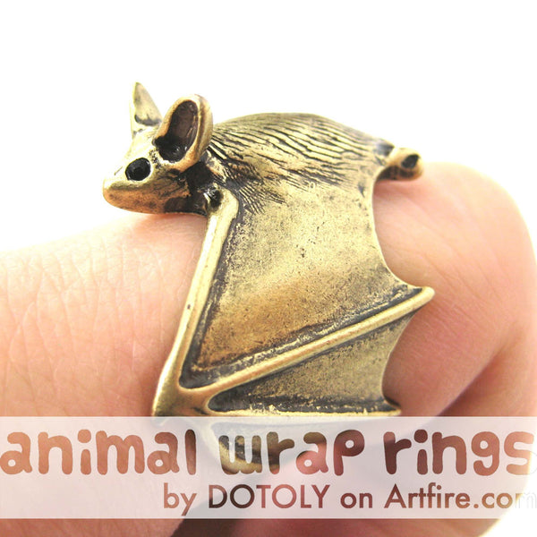 3D Bat Animal Wrap Adjustable Ring in Brass | Animal Jewelry | DOTOLY
