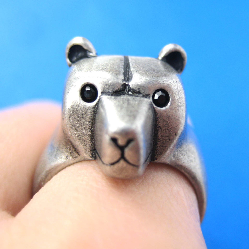 3D Adjustable Polar Bear Animal Wrap Around Hug Ring in Silver | Animal Jewelry | DOTOLY