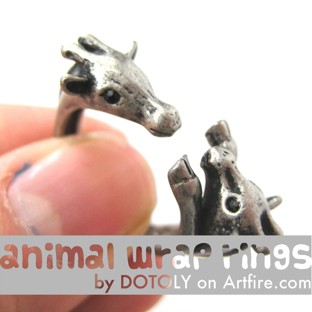Giraffe Mother and Baby Animal Wrap Around Ring in Silver - Sizes 5 to 9 Available | DOTOLY
