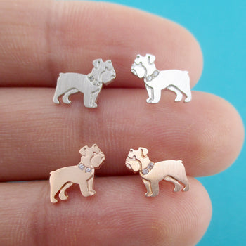 English Bulldog Shaped Stud Earrings with Rhinestones for Dog Lovers