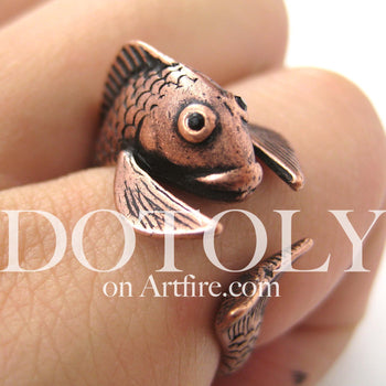 Fish Koi Sea Animal Wrap Around Ring in Copper - Sizes 4 to 9 Available | DOTOLY