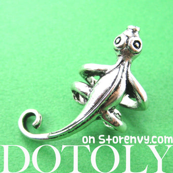 Iguana Chameleon Lizard Realistic Animal Wrap Small Ear Cuff in Silver | DOTOLY