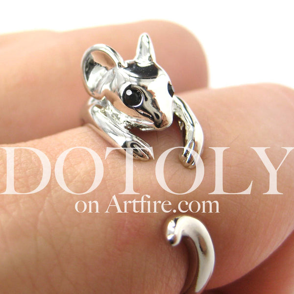 Mouse Animal Wrap Around Ring in Shiny Silver - Sizes 4 to 9 Available | DOTOLY