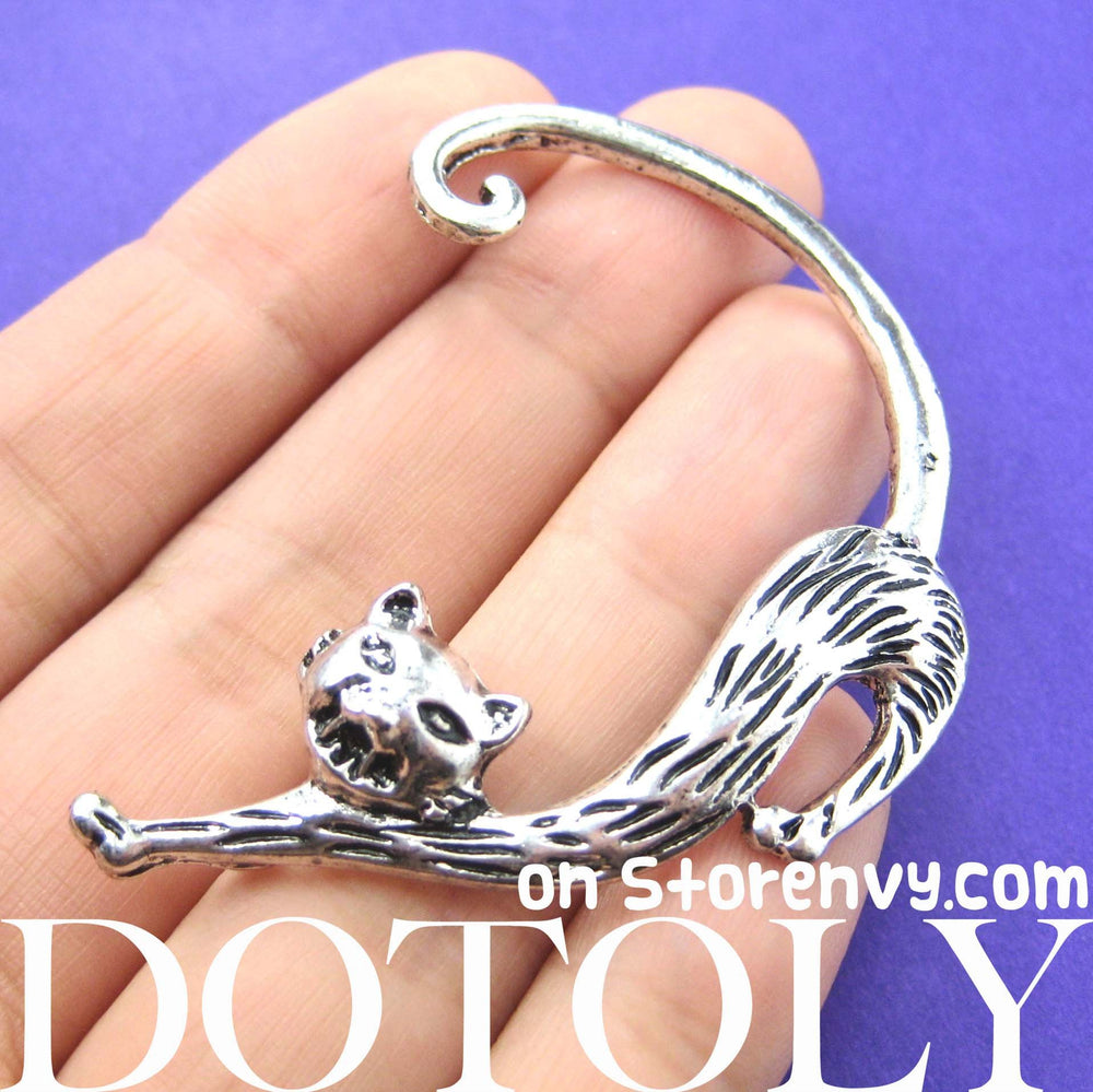 Kitty Cat Animal Wrap Ear Cuff in Silver | DOTOLY | DOTOLY