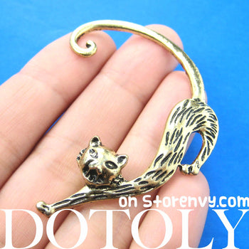 Kitty Cat Animal Wrap Ear Cuff in Brass | DOTOLY | DOTOLY