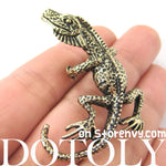 Iguana Chameleon Lizard Realistic Animal Wrap Ear Cuff in Brass | DOTOLY