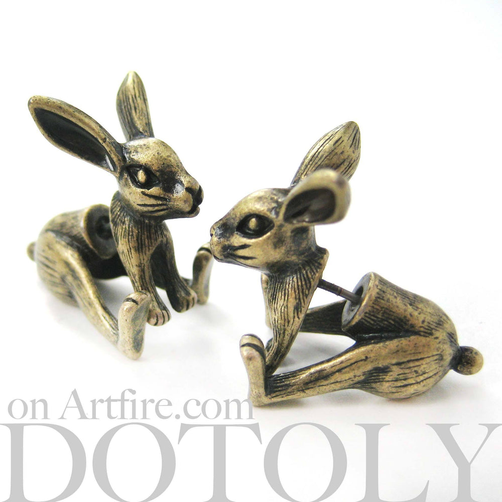 Fake Gauge Earrings: Realistic Bunny Rabbit Animal Shaped Plug Stud Earrings in Brass | DOTOLY